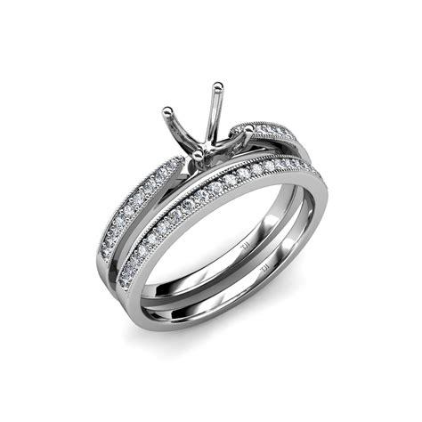 milgrain bridal set semi mount ring wedding band