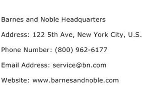 Barnes And Noble Phone Number barnes and noble headquarters address contact number of