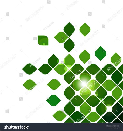 design is square green abstract background with round square design stock
