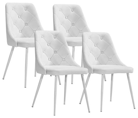 modern white dining chairs set of 4 zuo berry white leatherette modern dining chairs