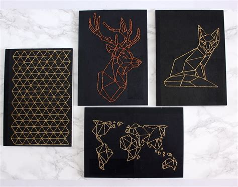 figure l diy fox diy diy geometric embroidered notebook