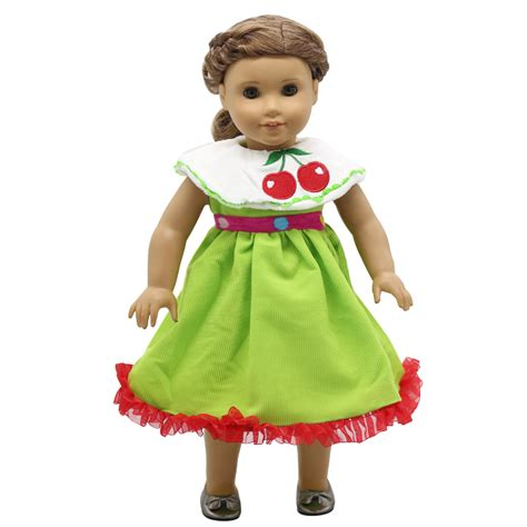 design doll clothes toy american girl dolls clothing cherry pattern green princess