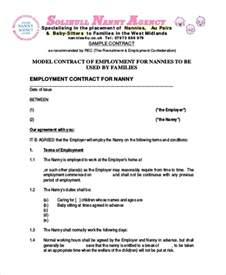 Babysitting Contract Template by Nanny Agreement Contract Sle 7 Exles In Word Pdf