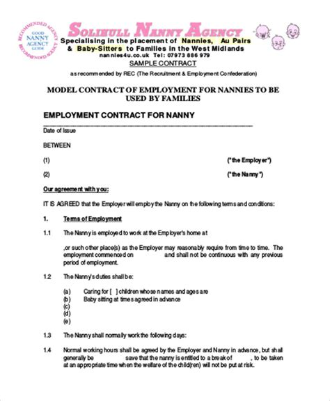 nanny agreement template nanny agreement contract sle 7 exles in word pdf