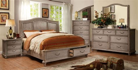 Cal King Bed Set 4 Piece Belgrade I Platform Rustic Storage Bedroom Set Cm7613