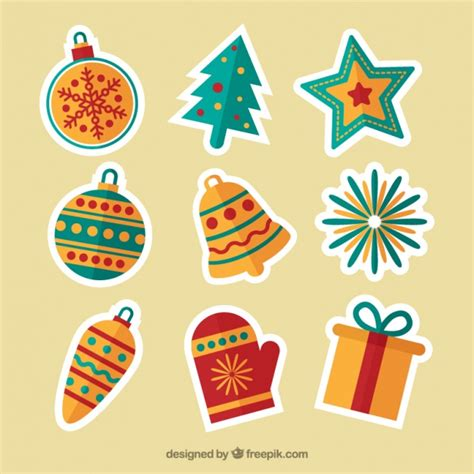 Aufkleber Weihnachten Kostenlos by Ornaments Stickers In Flat Design Vector Free
