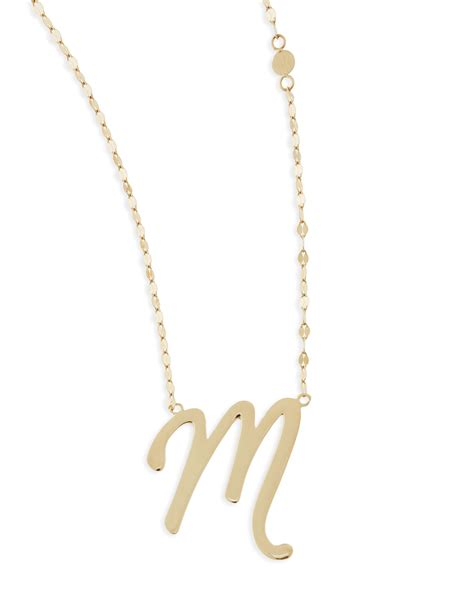 Pendant Necklace Gold With I You jewelry 14k gold initial letter necklace m in gold lyst