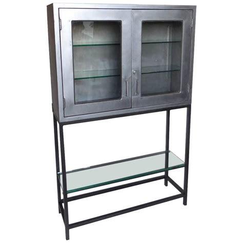 Vintage Metal Dentist Cabinet With Glass Doors And Custom Metal Cabinet With Glass Doors