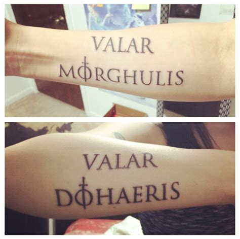 valar morghulis tattoo of thrones valar morghulis valar dohaeris