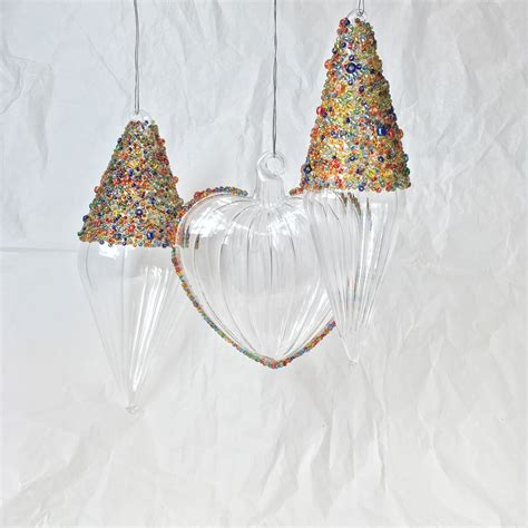 Handmade Glass Tree Decorations - multi coloured beaded handmade glass finial hanging