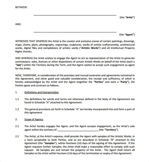 artist contract templates 9 free documents in pdf