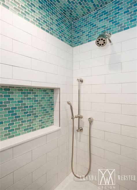 turquoise tile bathroom shower with turquoise accent tile amanda webster design