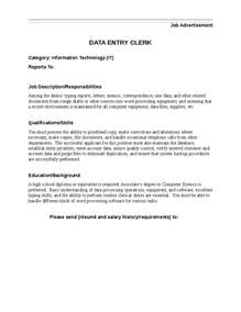 data entry clerk description data entry clerk
