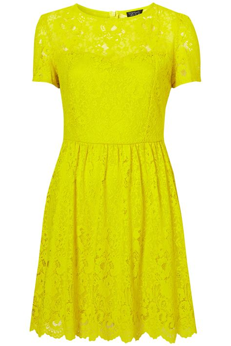 Dress Yellow lyst topshop neon lace flippy dress in yellow