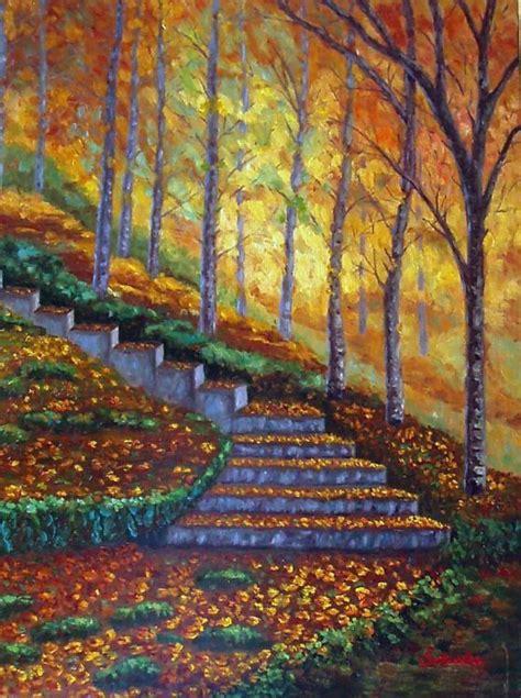 paisaje de otoo serie escalera en el bosque paisaje 225 rboles oto 241 o 211 leos de el bierzo