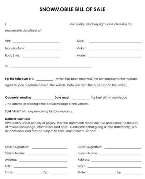snowmobile bill of sale template my