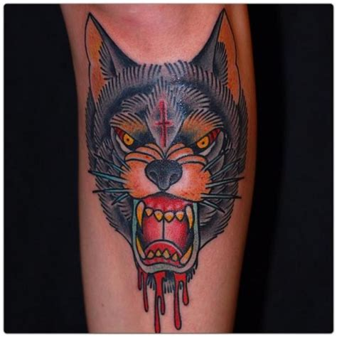 tattoo new school wolf arm old school wolf tattoo by the sailors grave