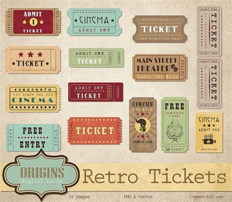 show ticket template retro tickets clipart vintage show circus cinema