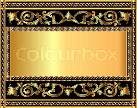 gold pattern frame illustration frame background with gold vegetable pattern
