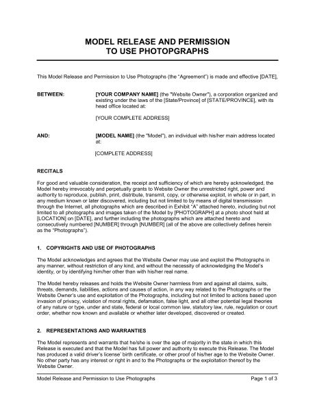 logo use agreement template model release and permission to use photographs template