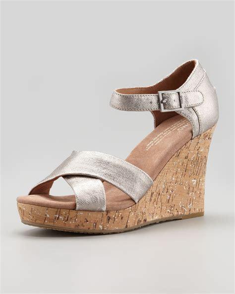 silver cork wedge sandals toms metallic cork wedge sandal pewter in silver pewter