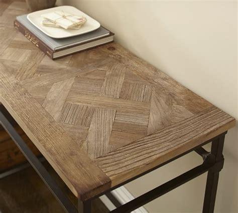pottery barn sofa table parquet reclaimed wood console table pottery barn