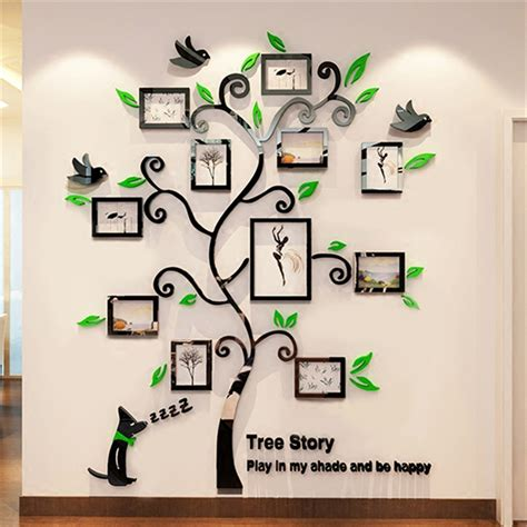 Wall Sticker Picture Frames acrylic photo frames wall family tree stickers 3d three