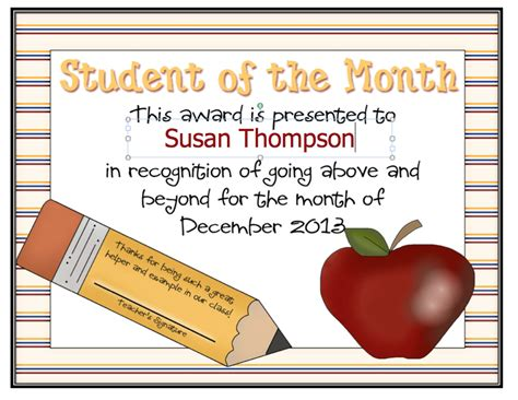 free student of the month certificate templates dayley supplements editable student of the month