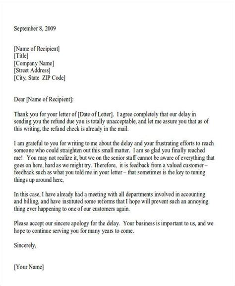 Apology Letter And Refund Formal Apology Letters