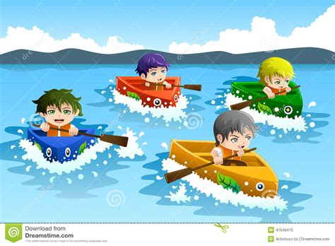 cartoon boat race kids in a boat race stock vector image 41549470