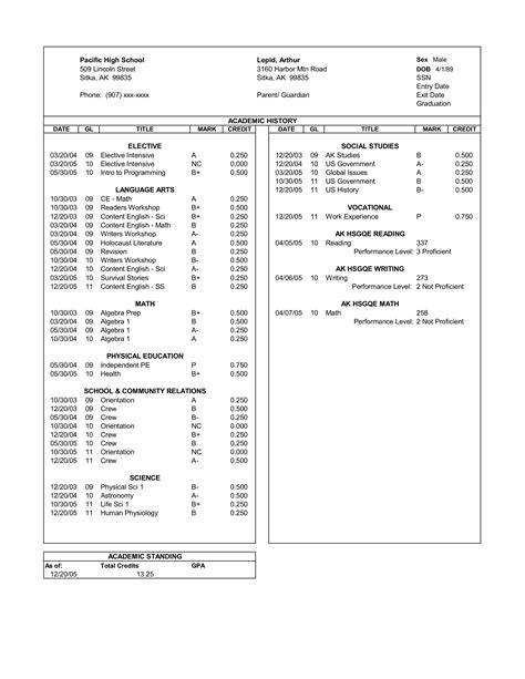 high school transcript template pin high school transcript sle by giancarlo on