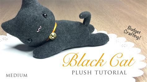 easy diy sock plush diy black cat plush and hairband tutorial