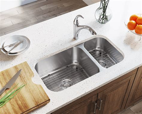 3218BR Offset Double Bowl Stainless Steel Kitchen Sink