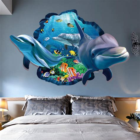 vinyl wall murals 3d wall sticker dolphin removable vinyl decal