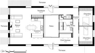 plan rectangulaire 2 chambres et terrasses plans