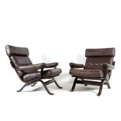 1 of 2 retro vintage leather lounge armchair chair