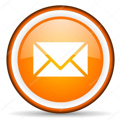 email orang mail orange glossy circle icon on white background stock
