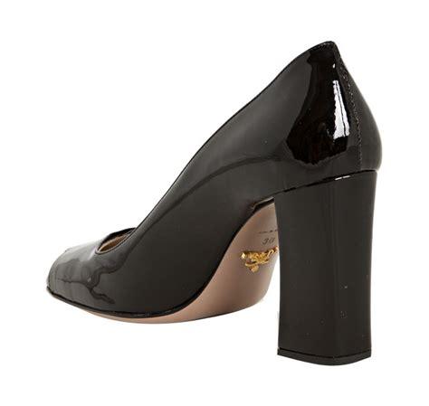 Patent Block Heel Pumps lyst prada black patent leather buckle detail block heel