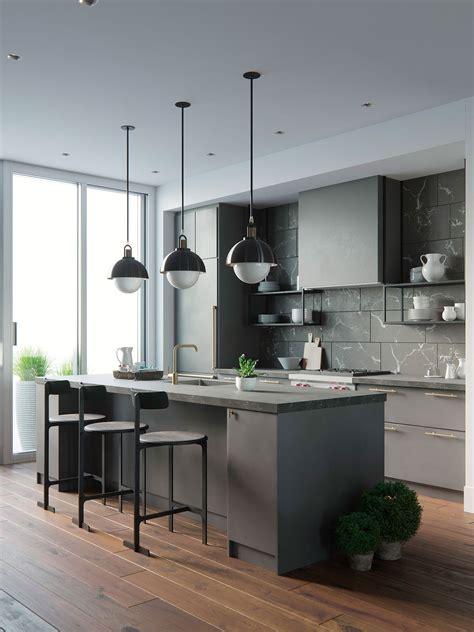 amazing Virtual Home Interior Design #1: 3D-interior-rendering-kitchen-white-table-night-1.jpg?x87945