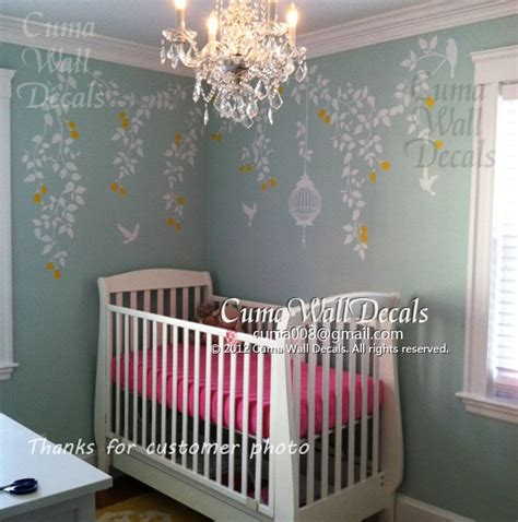 Birdcage Wall Stickers nursery wall decal baby girl wall sticker fower birds wall