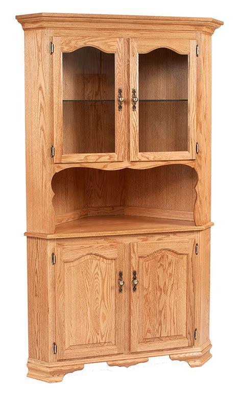 Wooden Hutch Classic Design 2 Door Corner Hutch Ohio Hardwood Furniture
