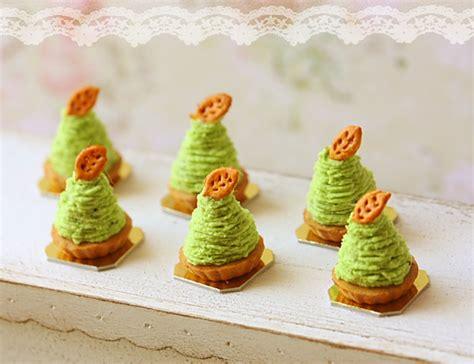 Miniature Dollhouse Food   Green Tea Mont Blanc Dessert