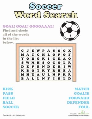 Football Worksheets For Middle School by Word Search Soccer Worksheet Education