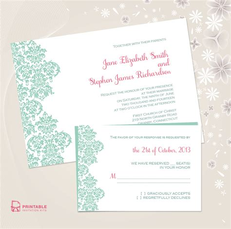 invitations templates printable free damask border invitation and rsvp set wedding invitation