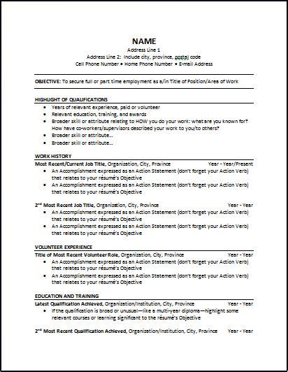 Resume Templates Word Canada Chronological Resume The Working Centre