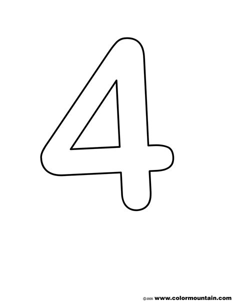 Number 4 Coloring Page Printable by Number Four Coloring Pages