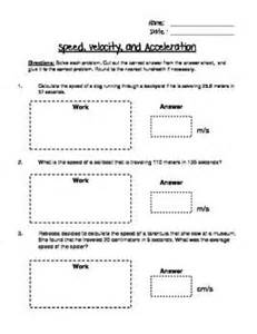 Speed And Velocity Problems Worksheet Answers by Speed Velocity And Acceleration Engaging Cut And Glue