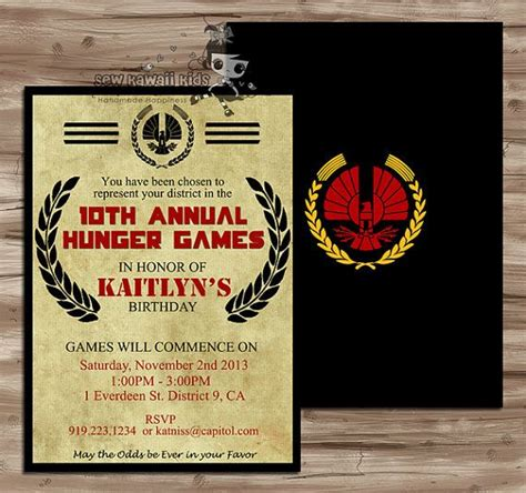 printable hunger games birthday invitations hunger games inspired birthday invitation invite notice