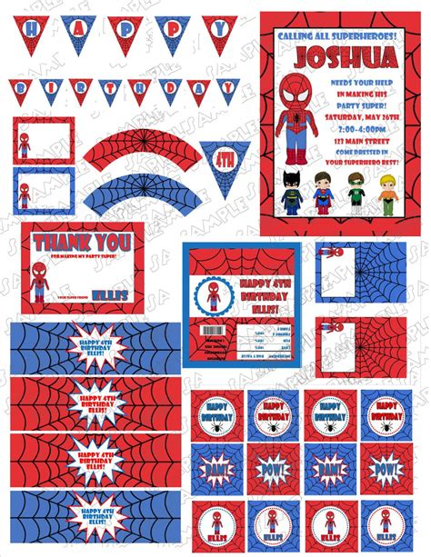printable spiderman party decorations superhero spiderman birthday printable party by