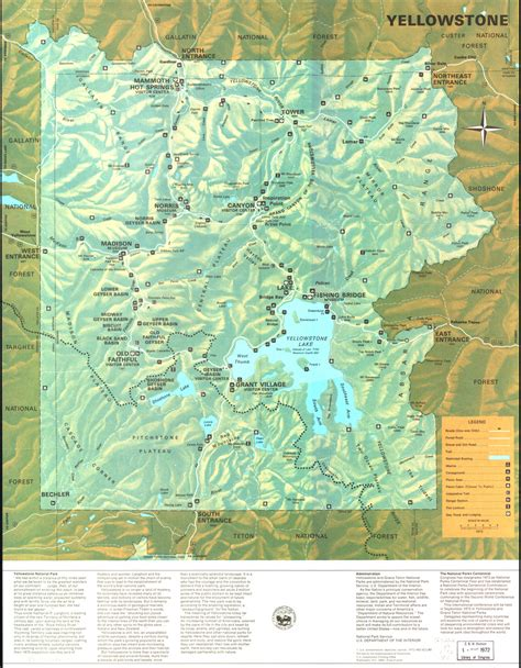 map of yellowstone park yellowstone national park map of attractions images